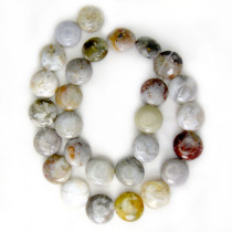 Crazy Lace Agate 14mm Puffy Coin Beads