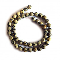 Dalmation Jasper 8mm Faceted Round Beads
