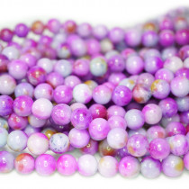 Dyed Jade Purple Multicolour 8mm Round Beads