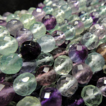 Fluorite 8mm Faceted Round Beads