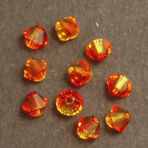 Swarovski® 4mm Fire Opal Bicone Xilion Cut Beads (Pack of 10)