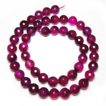 Fuchsia Agate (Plain) Faceted 8mm Round Beads