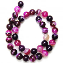 Fuchsia Agate 10mm Round Beads
