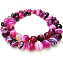 Fuchsia Agate 8mm Faceted Round Beads