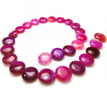 Fuchsia Agate 14mm Coin Beads