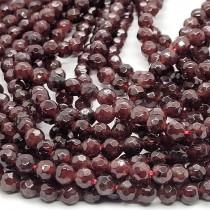 Garnet Faceted 4mm Round Beads