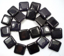 Blue Goldstone 12mm Square Beads