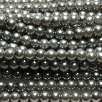 Grey Glass Pearls 6mm Round Beads