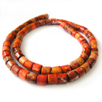 Orange Impression Jasper Tube Beads