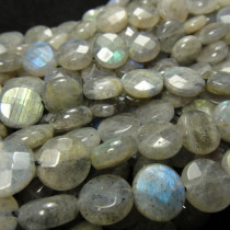 Labradorite 10mm Faceted Coin Beads