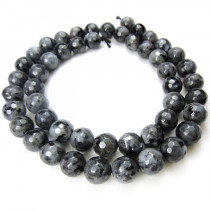 Larvikite 8mm Faceted Round Beads