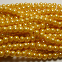 Light Khaki Glass Pearls 6mm Round Beads