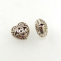 Tibetan Silver Heart Shaped Beads (Pack 2)