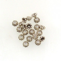 Tibetan Silver 5mm Bead Caps (Pack 20)