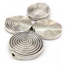 Tibetan Silver 18mm Swirl Disc Beads