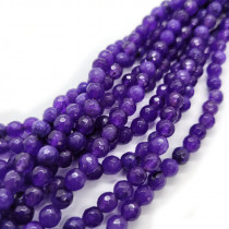 Malay Jade Amethyst Faceted 6mm Round Beads