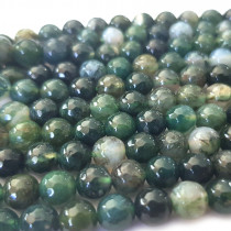 Moss Agate Faceted 6mm Round Beads