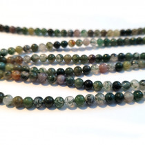 Moss Agate 5mm Round Beads