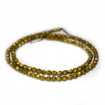 Matte Golden Hematite 4x4mm Diamond Cut Beads