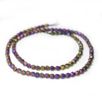 Matte Rainbow Hematite 4x4mm Diamond Cut Beads