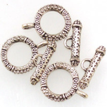 Tibetan Silver Toggle Clasp (Pack 3)