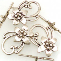 Tibetan Silver Flower Toggle Clasps (Pack 3)