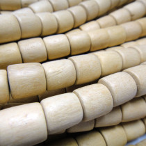 Natural White Wood 10x10mm Barrel Beads