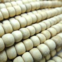 Natural White Wood 4x5mm Pokalet Wood Beads