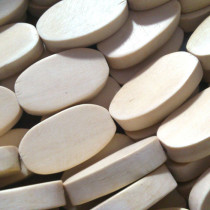 Natural White Wood 15x20mm Flat Oval Beads