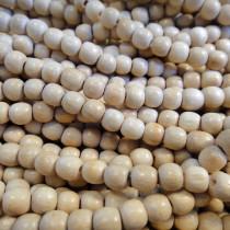 Natural White Wood 4mm Round Beads