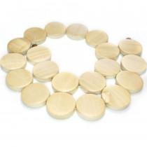 Natural White Wood Flat Round Beads
