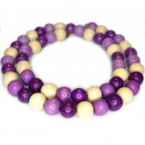 Natural White Wood Mixed Colour Beads - Orchid, Eggplant and Natural