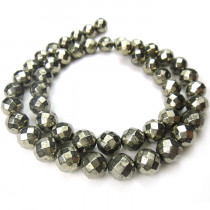 Pyrite 8mm Faceted Round Beads