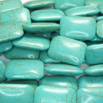 Reconstituted Turquoise Large Rounded Rectangle Beads
