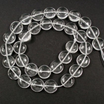 Rock Crystal 12mm Coin Beads