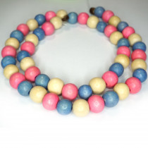 Natural White Wood Mixed Colour Beads - Rose Pink, Sky Blue and Natural