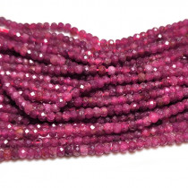 Ruby Faceted Rondelle 2x3mm Beads