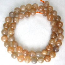Sunstone 8mm Faceted Round Beads