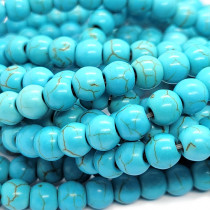 Synthetic Turquoise 6mm Round Beads