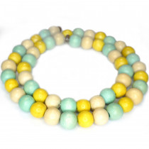 Natural White Wood Mixed Colour Beads - Yellow, Aquamarine and Natural